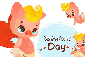 Valentine's Day. Cartoon Cupid pig