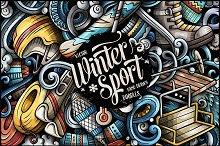 Winter Sports Doodle Illustration
