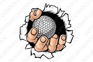 Golf Ball Hand Tearing Background