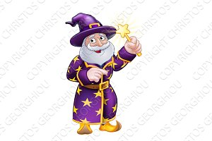 Wizard Cartoon Character Pointing