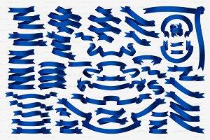 ♥ vector  blue volume ribbons set