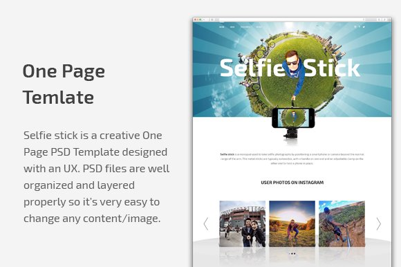 selfie stick one page psd template website templates creative