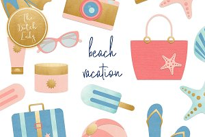 Summer Beach Vacation Clipart Set
