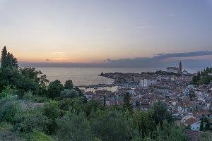 City of Piran at Sunset