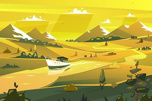 Seashore landscape. Vector