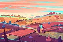 Rural landscape. Vector illustration