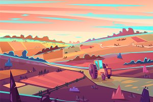 Rural landscape. Vector illustration
