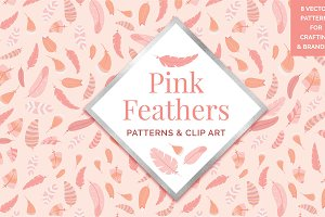 Pink Feather Theme Patterns