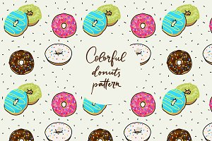 Colorful donuts pattern