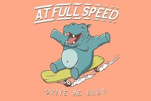 hippopotamus rides on skateboard