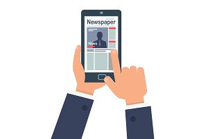 Person Online Reading Newspaper on