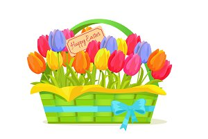 Happy Easter Note In Tulips Bouquet