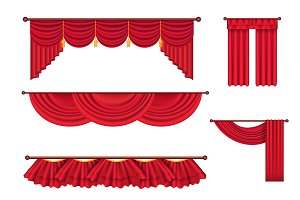 Wide Red Drapes and Lambrequins