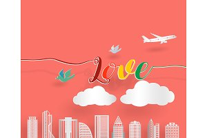 Love letter with airplane on sky