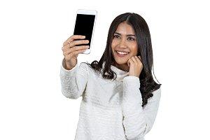 Portrait Asian woman taking selfie v
