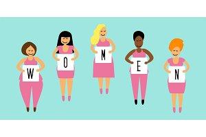 Cute cartoon characters of diverse