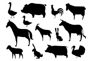 Vector Farm Animals Silhouettes