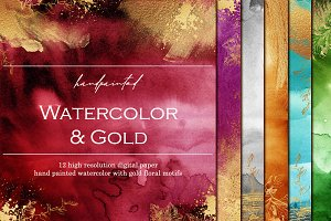 Watercolor papers with gold floral