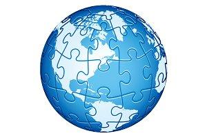 Jigsaw Puzzle Globe. America.