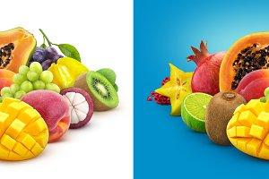 Heap of fresh exotic fruits