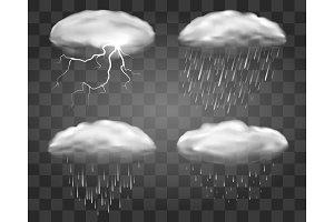 Realistic rain clouds on transparent