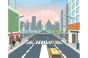 People on road illustration