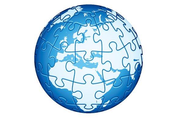 Jigsaw Puzzle Globe. Europe, Africa. - Illustrations