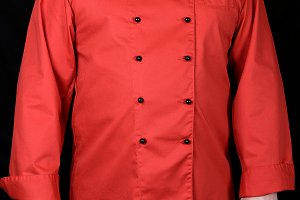 chef in red uniform and black pants