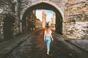 Woman tourist walking in Tallinn