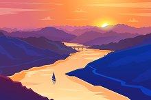 Sunset landscape. Vector