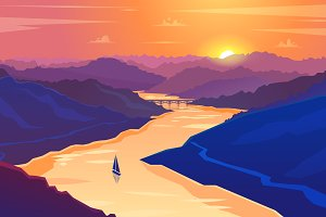 Sunset landscape. Vector