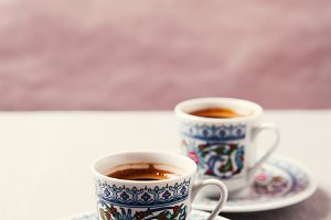 Black coffee in traditional Turkish