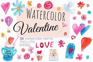 38 Watercolor Valentine elements