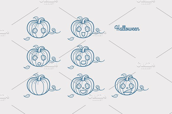 Halloween. Emotions characters - Illustrations
