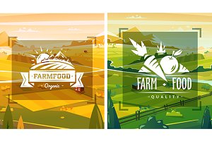 Farm food typography design. Vector