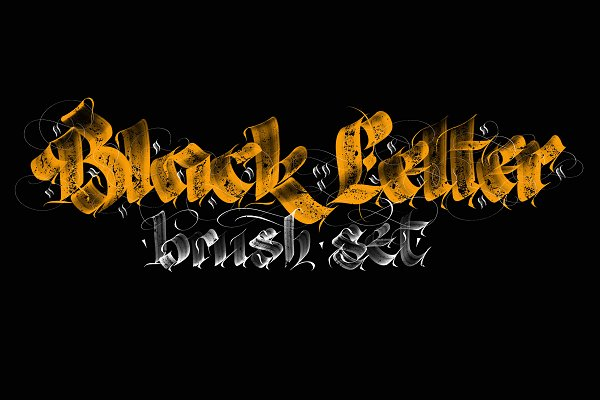 Photoshop Brushes: the Fontmaker - Blackletter Pro Brushes / Procreate