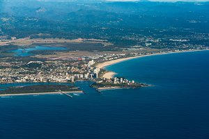 Aerial view of Coolangatta town and