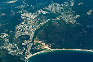 Aerial view of Noosa Heads. Sunshine