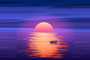 Fishing boat sunset vector