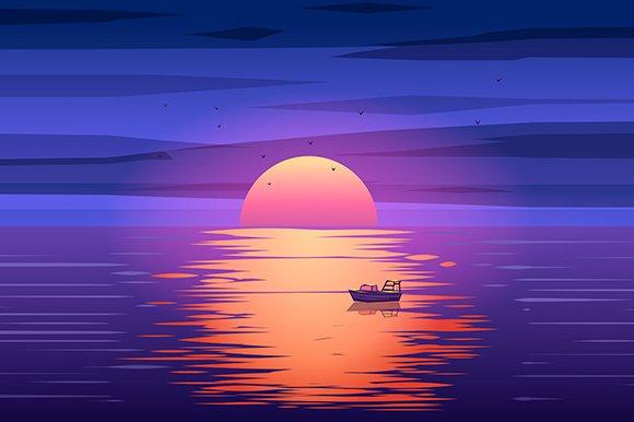 Wallpaper Fisherman Sunset Boat Hd Creative Graphics: Fishing Boat Sunset Vector
