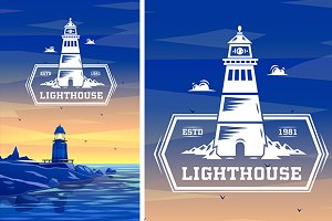 Colorful lighthouse symbol