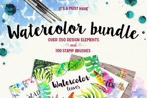 +350 Watercolor Elements and Brushes