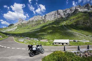 Travelling by motorbike in the alps