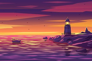 Colorful lighthouse illustration
