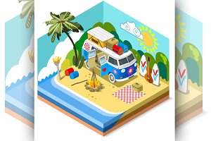 Isometric Beach Diorama with a Van