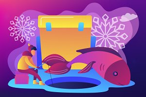 Ice fishing concept vector
