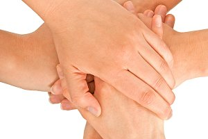 Female hands joined together