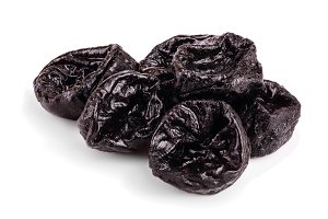 Dried plum - prunes isolated on a