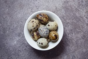 eggs of quail on stone background