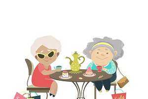 Two old women talking in a cafe
